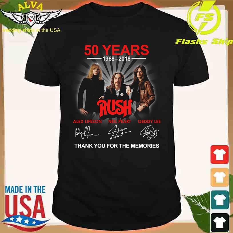50 Years 1968 2018 Rush thank You for the memories signatures shirt