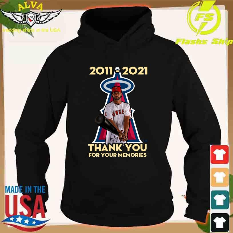 Albert Pujols Los Angeles Angels 2011 2021 thank You for Your Memories signature s hoodie