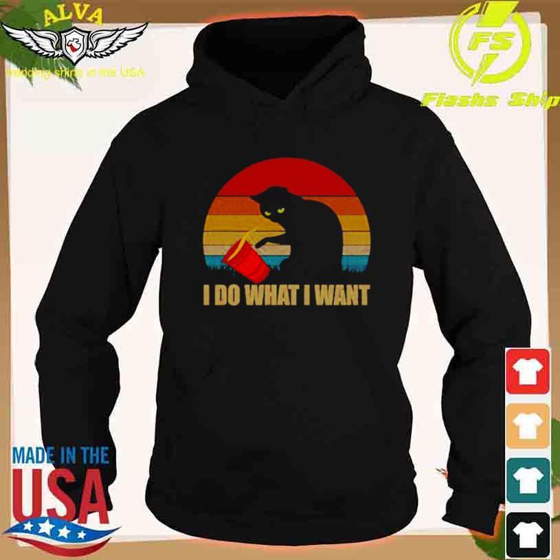 Black Cat I Do What I Want Vintage Sunset Shirt hoodie