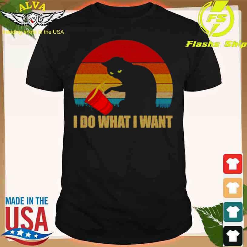 Black Cat I Do What I Want Vintage Sunset Shirt