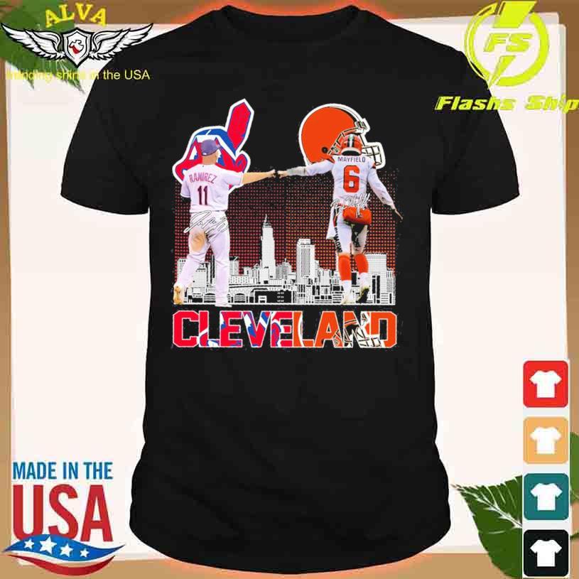 Cleveland Indians José Ramírez 11 Baker Mayfield 6 signatures shirt