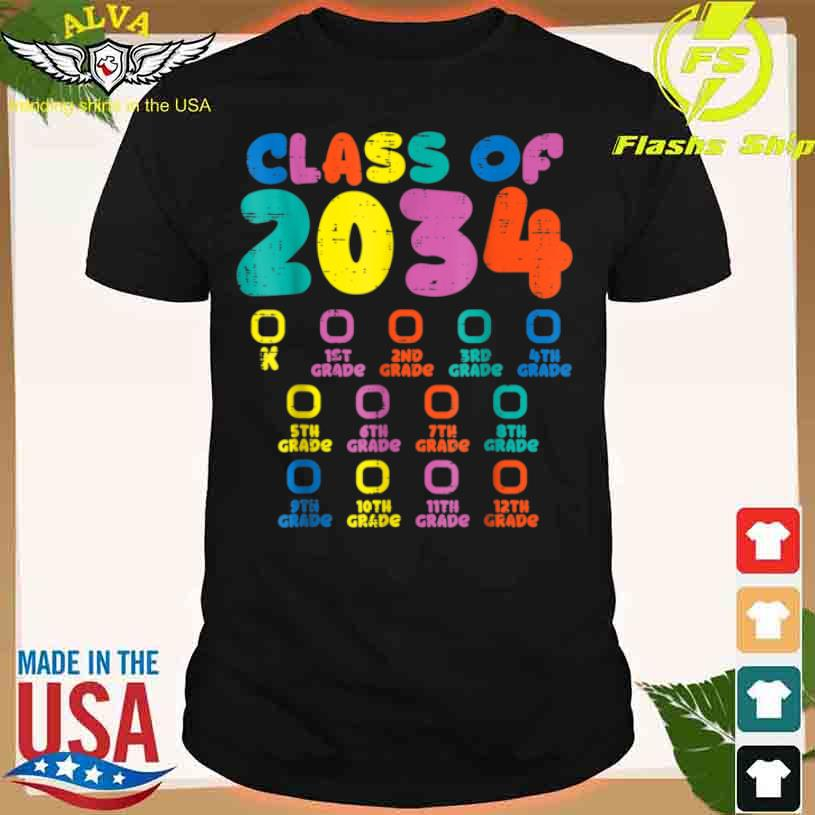 Colorful Class Of 2034 Grow With Me Checklist Graduation Shirt