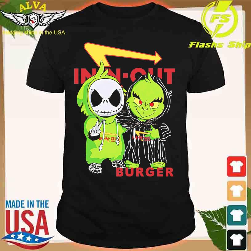 Friends Jack Skellington And The Grinch With In N Out Burger Logo Shirt