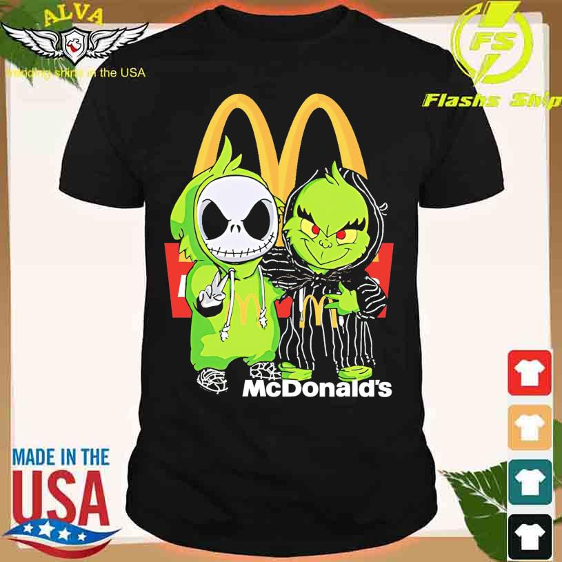 Friends Jack Skellington And The Grinch With Mc Donald's Logo Shirt