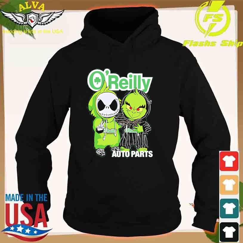 Friends Jack Skellington And The Grinch With O'Reilly Auto Parts Logo Shirt hoodie