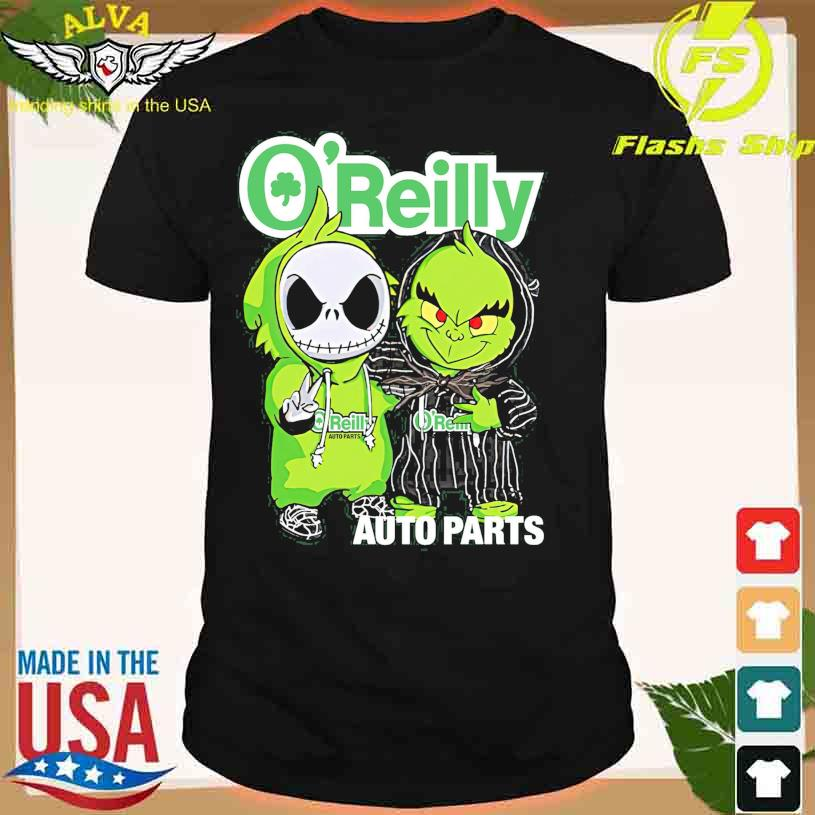 Friends Jack Skellington And The Grinch With O'Reilly Auto Parts Logo Shirt