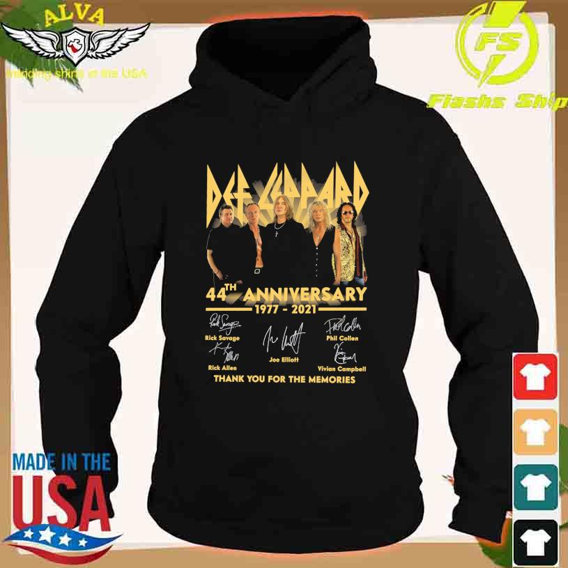Official Def Leppard 44th anniversary 1977-2021 thank you for the memories signatures s hoodie