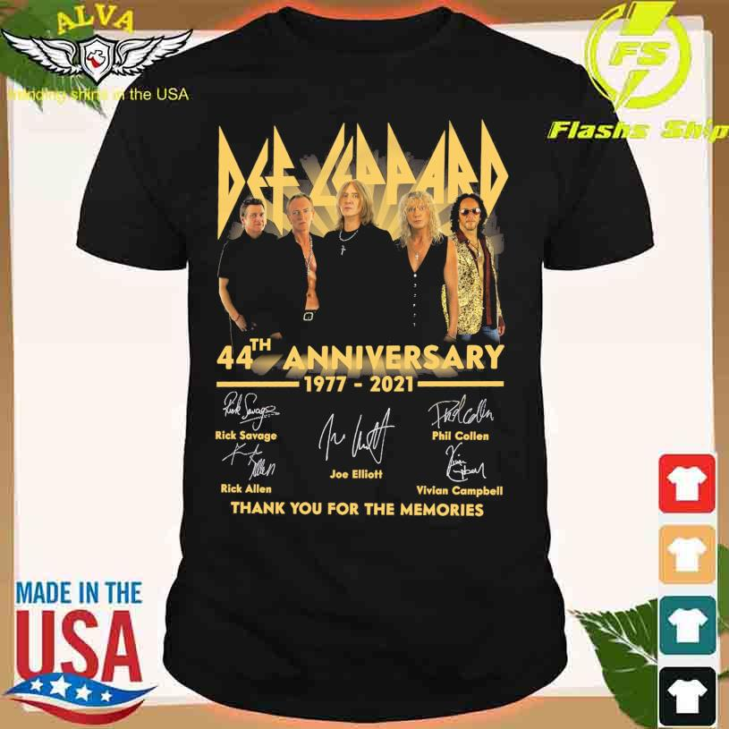 Official Def Leppard 44th anniversary 1977-2021 thank you for the memories signatures shirt