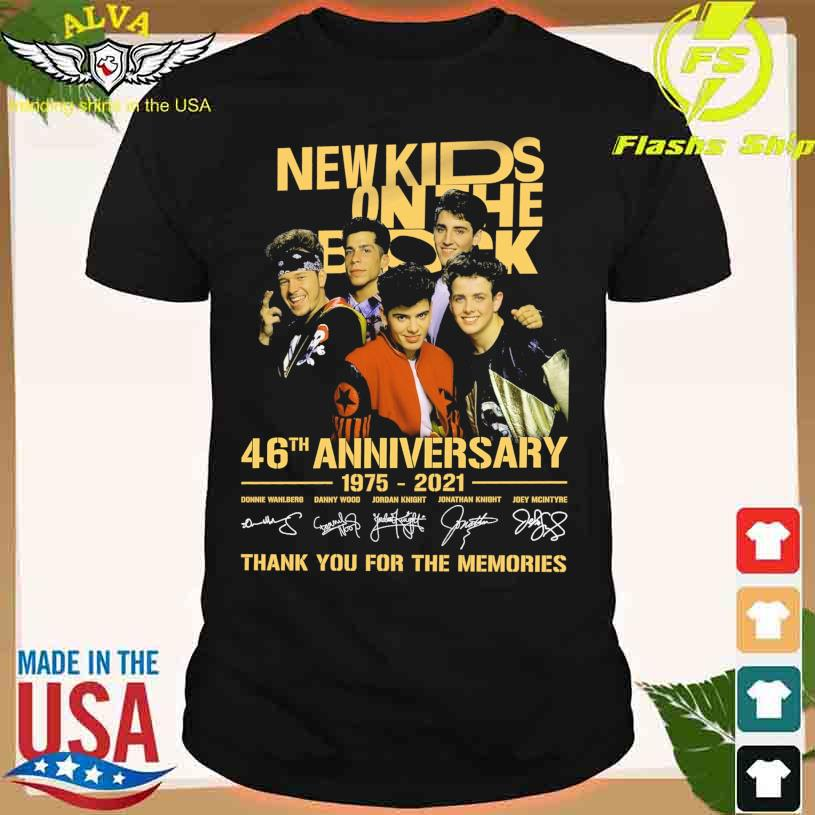 Official New Kids on The Block 46th anniversary 1975 2021 thank you for the memories signatures shirt